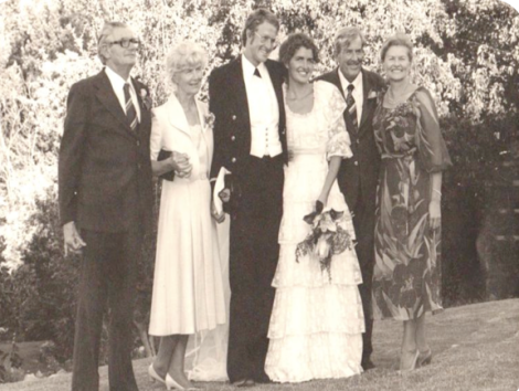 The happy couple flanked by proud parents L-R: Cecil Helm, Catherina Helm, Johnny Johnson, Nina Johnson, Peter Johnson and Susan Johnson